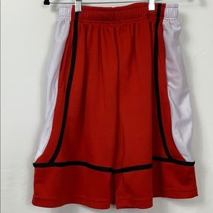 Game Time red/white, black basketball shorts Lg
